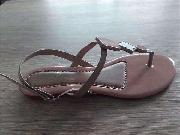 Sandália geométrica nude verniz ra-16