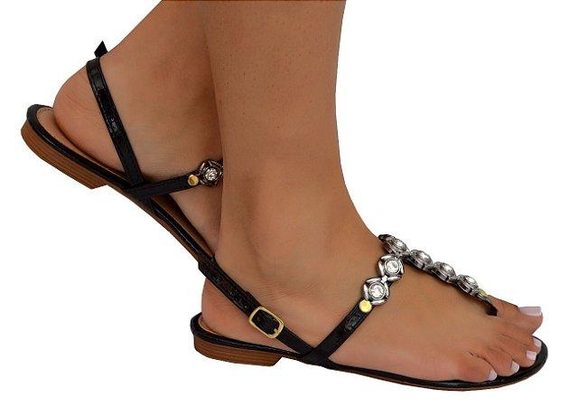 Sandália detalhe em stras preta