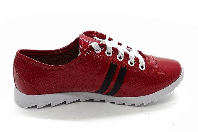 Tênis de cadarço verniz vermelho 1000
