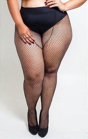 Meia Calça Arrastão Preta Plus Size