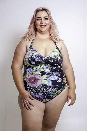 Maiô Sem Bojo Floral Plus Size