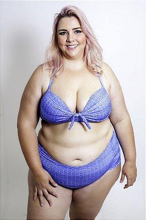 Tanga Hotpants  Azul Listra  Plus Size