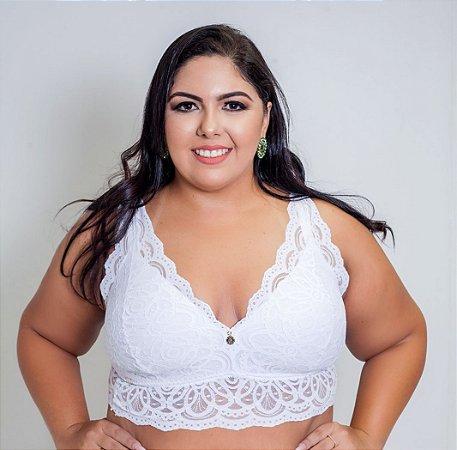 Sutiã Top de Renda Branco Plus  Size