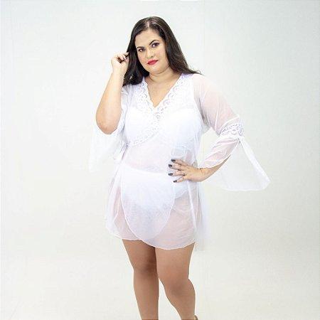 Robe Tule Branco Plus Size