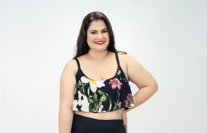 Top Croped Babado Floral Plus Size