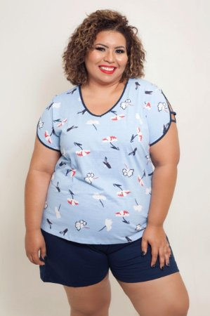 Pijama Azul Manga Vazada Plus Size