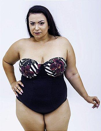 Maiô Tomara que Caia Preto Plus Size