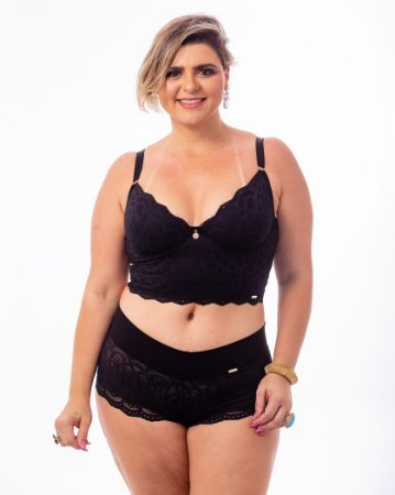 Sutiã Top Croped Isadora sem Bojo Preto  Plus Size