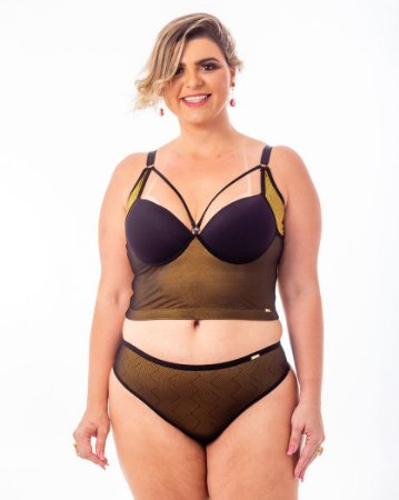 Sutião Top Croped Diva Strappy Ouro Egito Plus Size