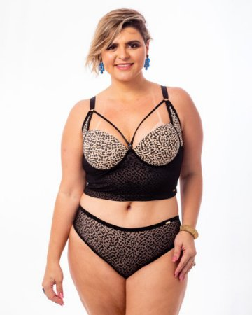 Top Croped Diva Strappy Onça Plus Size