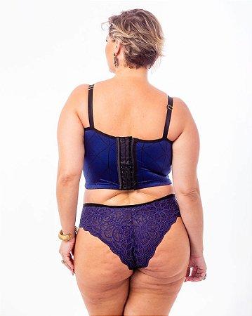 Top Croped Diva com Strappy Azul Plus Size