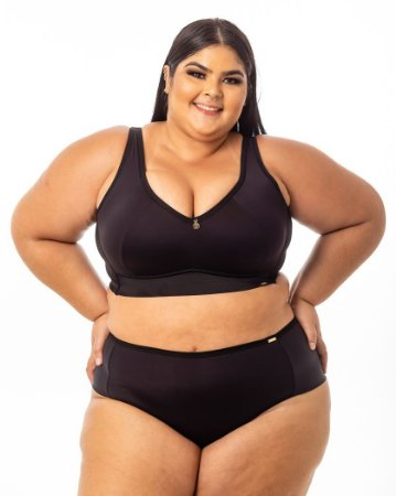 Top Croped Regina PRETO Plus Size