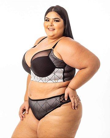 Calcinha Flavia Tule Renda PRATA Plus Size