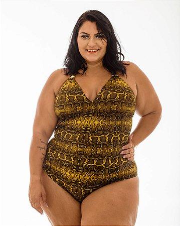 Maiô Marina Cobra Ouro Plus Size