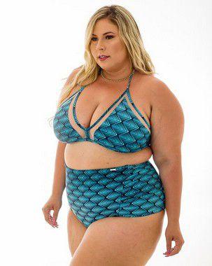 Tanga Paula Hotpants Azul Concha Plus Size