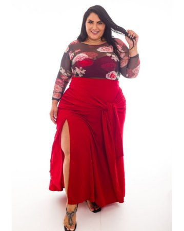 Blusa Tule Floral Nicole Plus Size