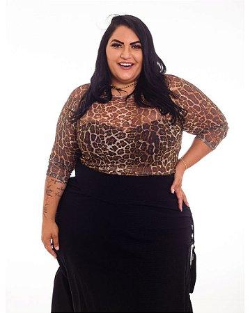 Blusa Tule Onça Nicole Plus Size