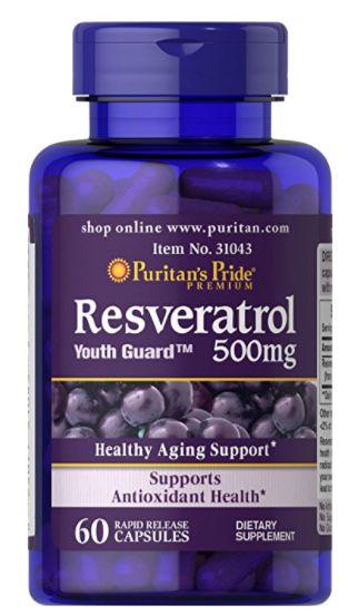 Resveratrol 500mg | 60 cápsulas - Puritan's Pride