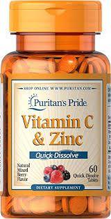Vitamina C & Zinco (Sabor Frutas) | 60 comprimidos (Dissolve na boca) - Puritan's Pride