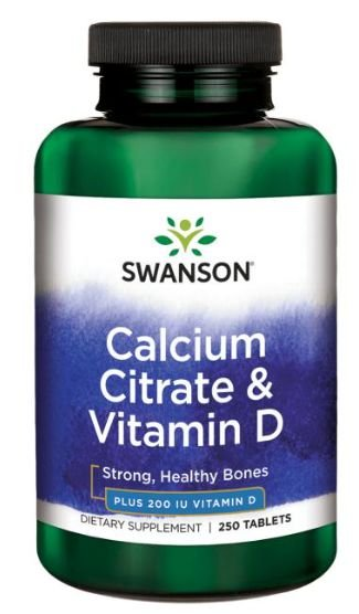 Citrato de Cálcio & Vitamina D3 | 250 Tablets - Swanson