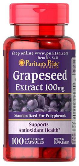 Grapeseed (Extrato de Semente de Uva) 100mg   100 Cápsulas - Puritan's Pride