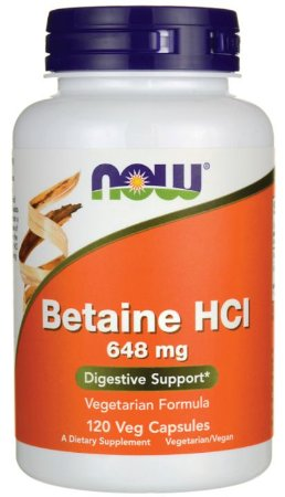 Betaina (Betaine)  HCL 648mg  | 120 Cápsulas - Now