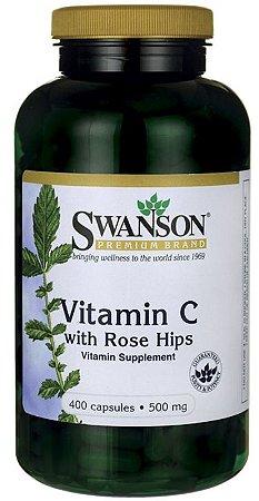 Vitamina C 500mg com Rose Hips | 400 Cápsulas - Swanson