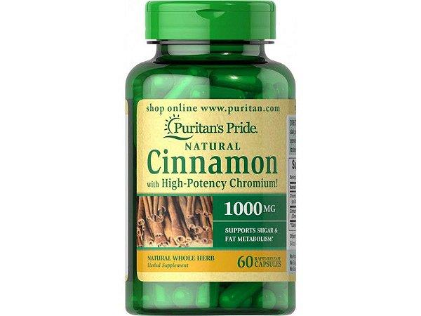Complexo Cinnamon (Canela) 1000mg  com Chromium Picolinate| 60 Cápsulas - Puritan's Pride