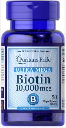 Biotina ULTRA MEGA 10.000mcg | 50 Softgels- Puritan