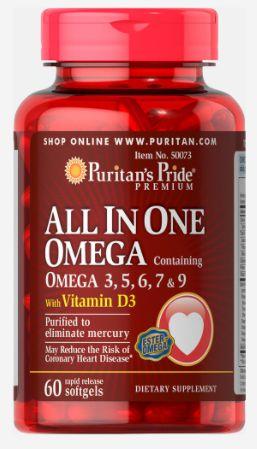 Omega 3, 5, 6, 7 & 9 + Vitamina D3  (All in One) | 60 Softgels - Puritan