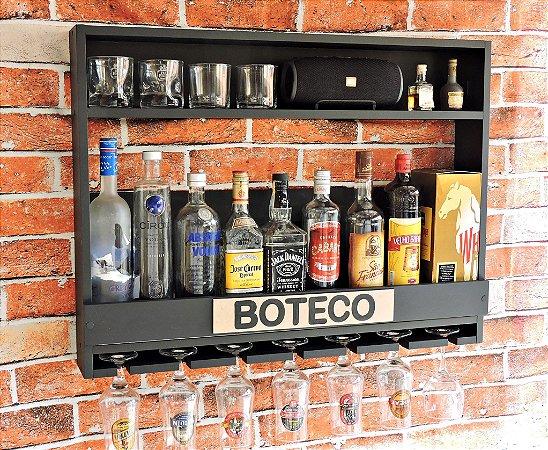 Barzinho de Parede MDF 80cm x 60cm Preto Fosco