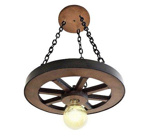 Luminária Roda De Carroça 35cm MDF - Pequeno