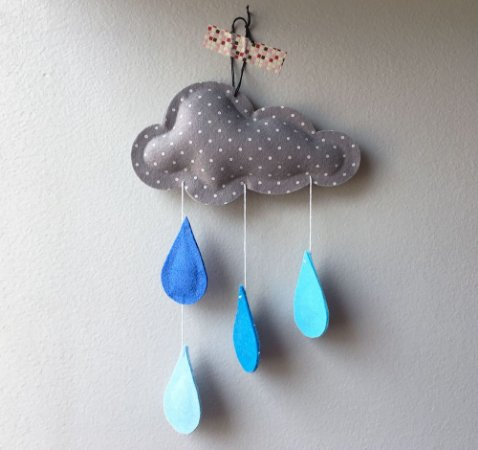 Mini Nuvem Gotas Azul