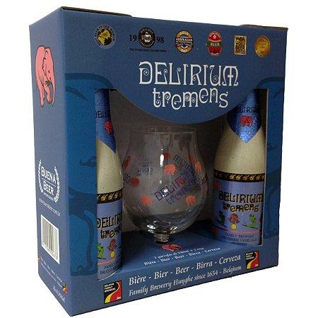 Kit Delirium Tremens 2 garrafas + Taça + bolachas