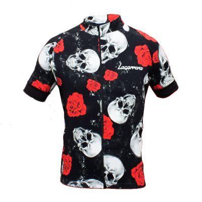 Camisa Lacarrera Caveira Com Rosas Preta