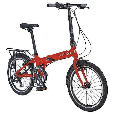 Bicicleta Dobrável Aro 20 Durban Bay Pro 7 Velocidades Vermelha