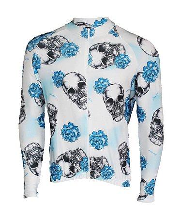 Camisa Lacarrera Caveira Com Rosas Longa Branca
