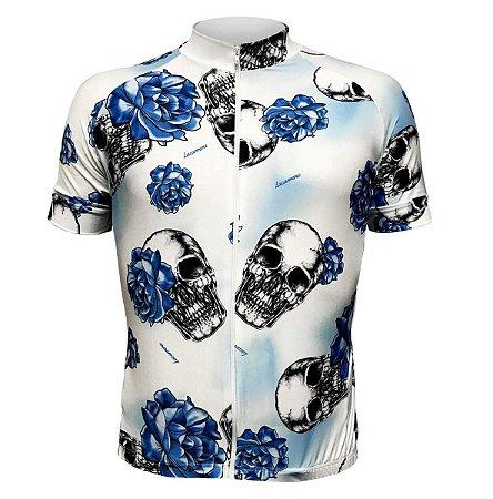 Camisa Lacarrera Caveira Com Rosas Branca