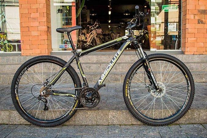 Bicicleta MTB Absolute Nero R29 T17 21v Preto/amarelo