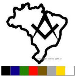 Adesivo Mapa do Brasil - Esquadro e Compasso