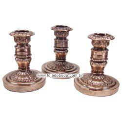 Conjunto 3 Castiçais Metalizado Bronze - 13cm