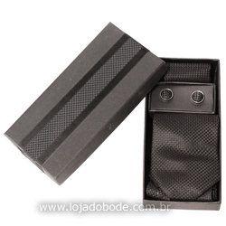 Estojo + Gravata + Lenço + Abotoaduras - Preto + Embalagem