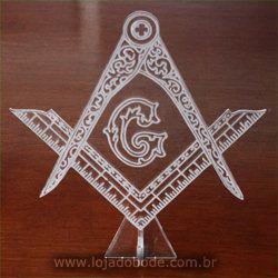 Adorno de Mesa em Acrílico Cristal - Esquadro e Compasso