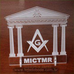 Adorno de Mesa em Acrílico Cristal - Templo Maçônico