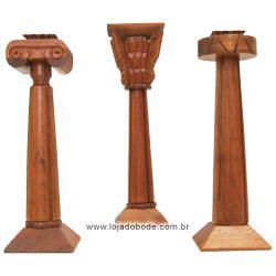 Conjunto de Colunas - Entalhada em Madeira