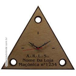 Relógio Personalizado - Triângulo 3 Pontos - Madeira