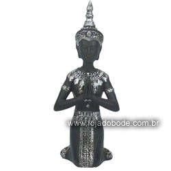 Buda Hindu em Oração - Preto fosco/Prata