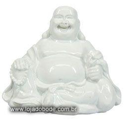 Buddha Alegria - 7cm - Branco Brilhante