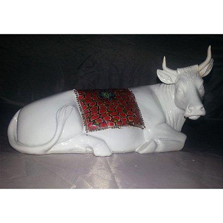 Touro Branco - Cerâmica - 20cm