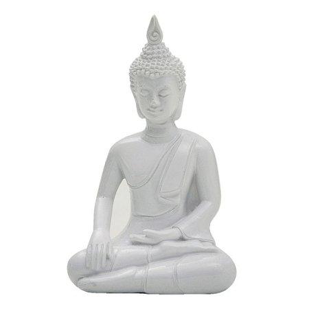 BUDA INDIANO SENTADO - PORCELANA BRANCA - 14cm